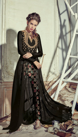 Black,Georgette,Heavy designer pary wear suits