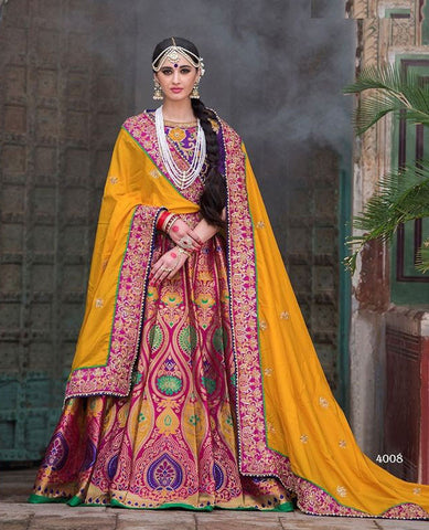 Multicolor,Banarasi Silk,Heavy designer lehenga saree