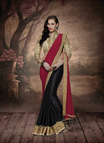 Deep Maroon, Black,Silk Georgette, Lycra,Designer party wear saree