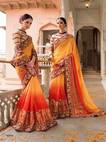 Yellow & Orange,Pure Moonga Silk,Heavy designer lehenga saree