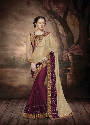 Deep Maroon, Gold,Silk Georgette, Lycra, Velvet,Designer party wear saree