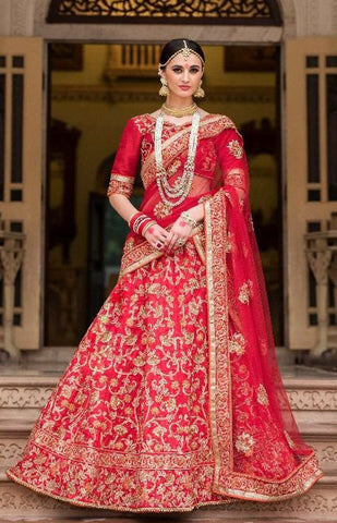 Red,Banglori & Net,Heavy designer lehenga saree