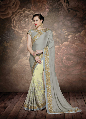 Grey  Chiffon Or Net Saree With Grey Blouse