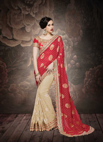 Red & Beige Banarsi Georgette Saree With Red Blouse