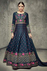 Dark Blue Silk Embroidered Work Anarkali Suit With Blue Dupatta
