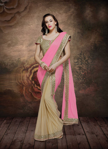Pink and Beige,Smoked Lycra, Silk georgette,Designer party wear saree