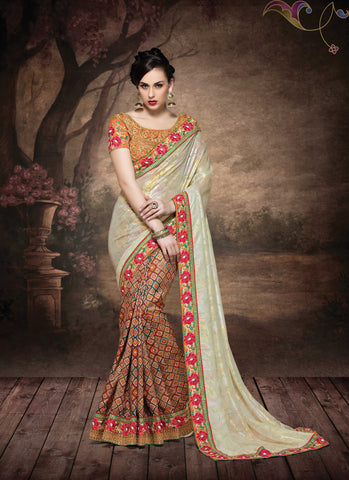 Multi Color,Fancy Georgette, Fancy Silk,Designer party wear saree