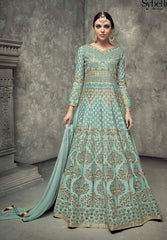 Sea Green Silk Embroidered Work Anarkali Suit With  Green Dupatta