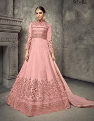Pink Silk Embroidered Work Anarkali With Pink Dupatta