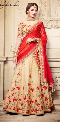 Beige Handloom Silk Lehenga In Floral Embroideery With Red Dupatta And Choli