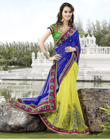 Yellow 60 Gram Saree with embroidery and handwork
