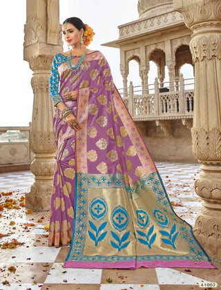 Purple Jacquard Party Wear Saree With Blouse