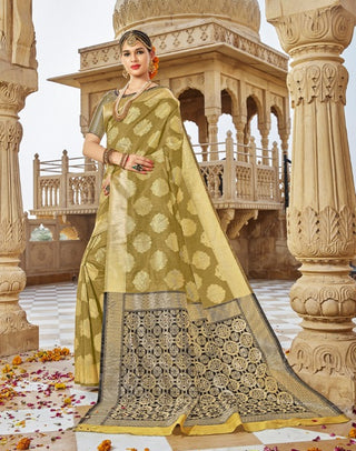 Green Jacquard Party Wear Saree With Blouse