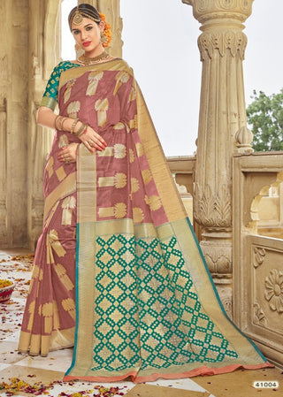 Peach Jacquard Party Wear Saree With Blouse