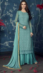 Blue Apple Georgette Party Wear Salwar Suit With  Dupatta