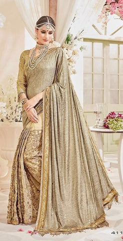 Golden Designer Net Saree With Golden Blouse