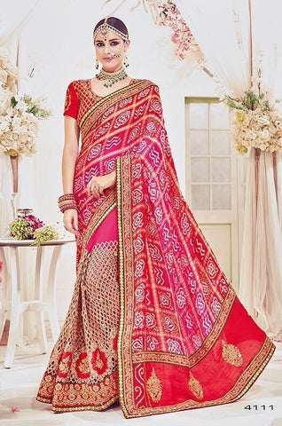 Red Bandhej Net Saree With Red Blouse