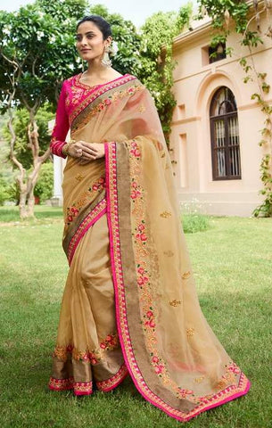 Beige Nylone Party Wear  Saree With Blouse