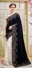 Black & White Velvet Saree With Designer Blouse