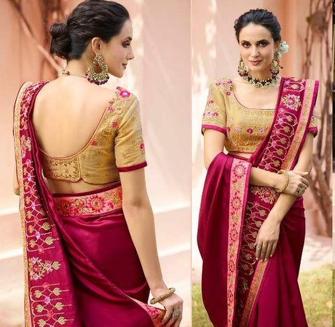 Maroon Tissue Party Wear  Saree With Blouse