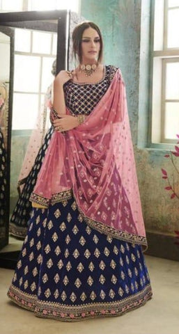 Blue Net Party Wear Lehenga With Pink Dupatta
