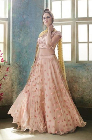 Pink Net Party Wear Lehenga With Yellow Dupatta