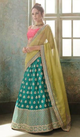 Cyan Organza Party Wear Lehenga With Yellow Dupatta