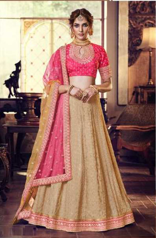 Beige Silk Party Wear Lehenga With Pink Choli And Pink Dupatta