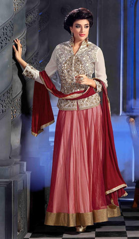 Maroon,Bhagalpuri Silk,Designer anarkali long embroidered long floor length suits