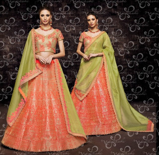 Orange Organza Wedding Wear Lehenga With Green Dupatta