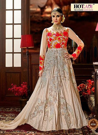 Beige Floral Patch Work Silk Abaya Style Anarkali With Dupatta