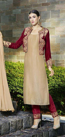 Beige , Maroon,Velvet,Designer suits,straight suits ,party wear suits,long suits