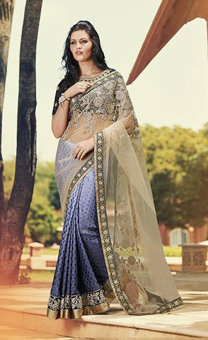 Designer net saree in blue and beige color