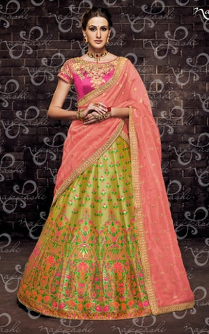 Green Organza Wedding Wear Lehenga With Pink Dupatta