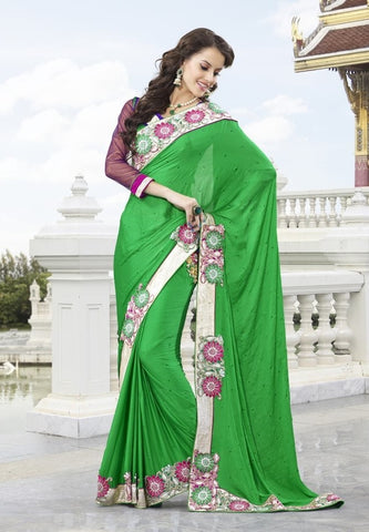 Green Satin Saree with embroidery and handwork