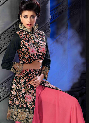 Long palazzo designer pink and black heavy embroidered suits with heavy embroidery on top