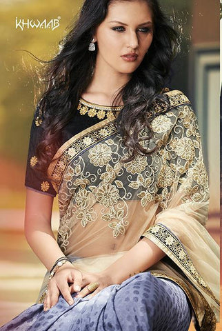 Shop Online Designer Blue and beige sarees of net