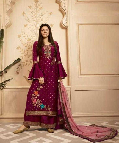 Wine Dolla Jacquard Party Wear Suit With  Dupatta