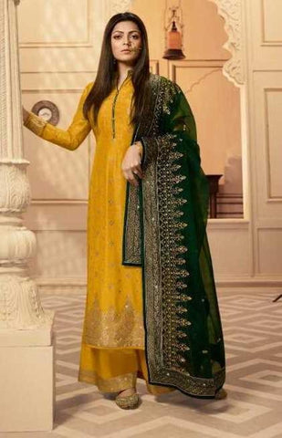Yellow Dolla Jacquard Party Wear Salwar Suit With  Dupatta