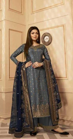 Grey Dolla Jacquard Party Wear Salwar Suit With  Dupatta