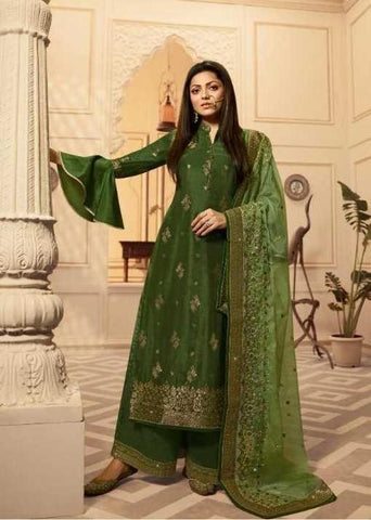 Green Dolla Jacquard Party Wear Salwar Kameez With  Dupatta