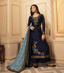 Blue Dolla Jacquard Party Wear Suit With  Dupatta