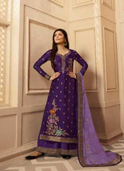 Purple Dolla Jacquard Party Wear Suit With  Dupatta