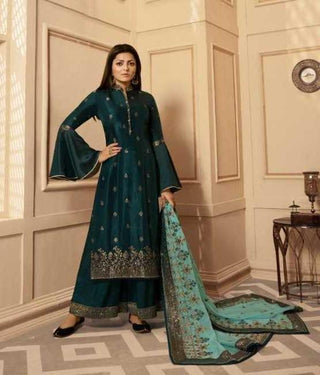 Green Dolla Jacquard Party Wear Salwar Suit With  Dupatta