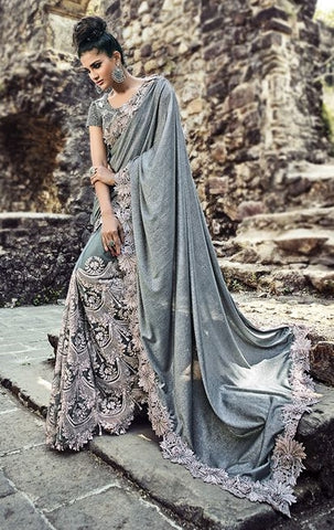 Heavy Designer Jardosi Saree With Peach Velvet Blouse