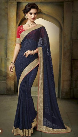 Saree Blue , Red,Brosso