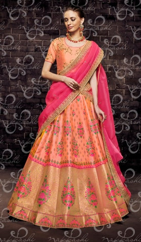 Orange Organza Wedding Wear Lehenga With Pink Dupatta