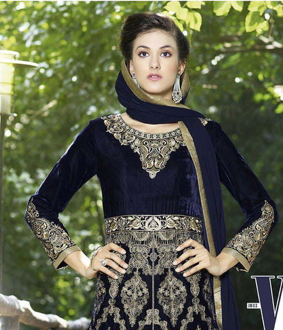 Heavy embroidered designer straight knee length suits with velvet fabric