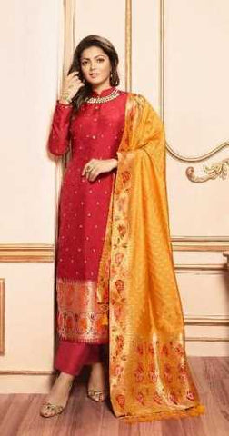 Maroon Silk Party Wear Suit With  Dupatta