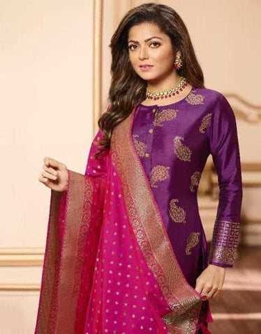 Purple Silk Party Wear Salwar Kameez With  Dupatta